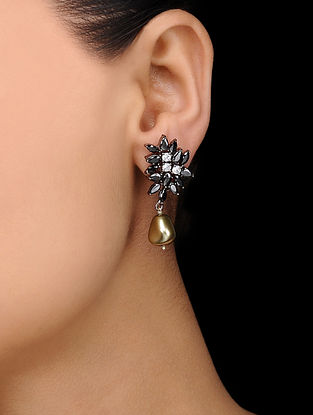Black Gold Tone Stone Stud Earrings