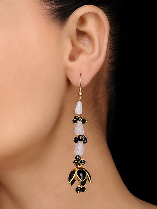 Black Gold Tone Rose Quartz Jhumkas