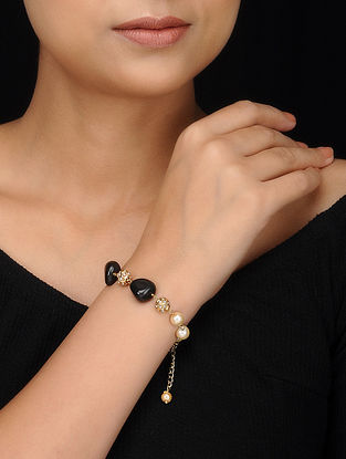 Black Gold Tone Stone and Pearls Bracelet