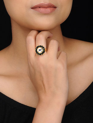 Black Gold Tone Kundan Inspired Crystal Ring