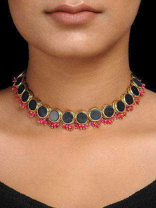 Black-Pink Gold Tone Handcrafted Choker Necklace