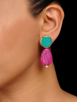 Turquoise-Pink Handcrafted Earrings