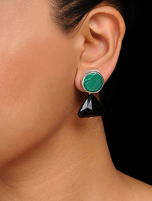 Green-Black Crystal Handcrafted Earrings