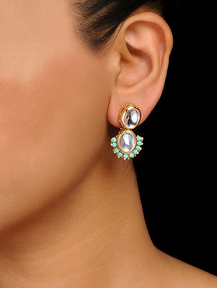 Turquoise Gold Tone Kundan Inspired Handcrafted Stud Earrings
