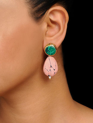 Green-Pink Handcrafted Earrings