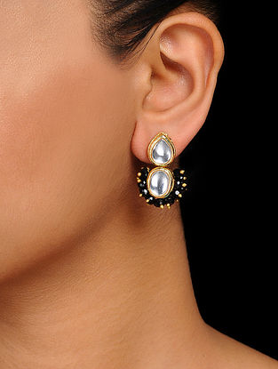 Black Gold Tone Kundan Inspired Handcrafted Stud Earrings