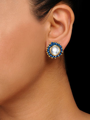 Blue Gold Tone Kundan Inspired Handcrafted Stud Earrings