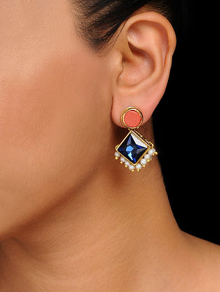Blue-Red Crystal Handcrafted Stud Earrings