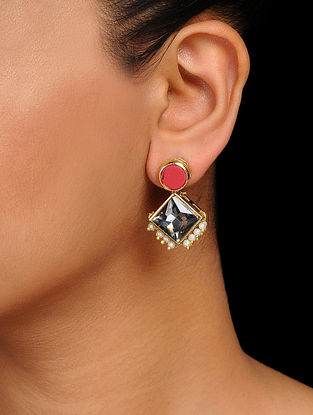 Grey-Red Crystal Handcrafted Stud Earrings