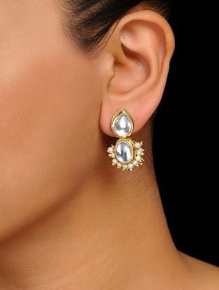 Classic Gold Tone Kundan Inspired Pearl Beaded Stud Earrings