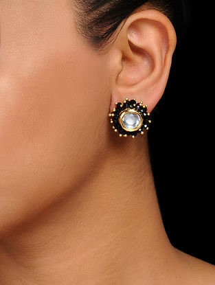 Black Gold Tone Kundan Inspired Crystal Handcrafted Stud Earrings