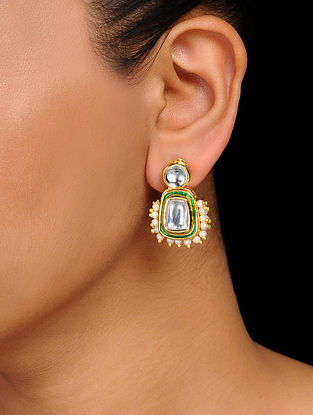 Classic Gold Tone Kundan Inspired Pearl Beaded Earrings