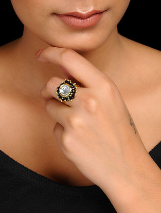 Black Gold Tone Kundan Inspired Crystal Adjustable Ring
