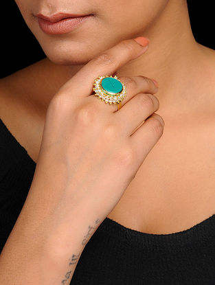 Turquoise Gold Tone Pearl Beaded Adjustable Ring