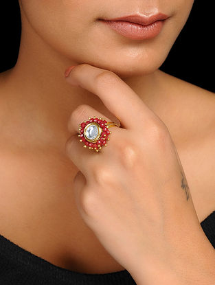 Red Kundan Inspired Crystal Adjustable Ring