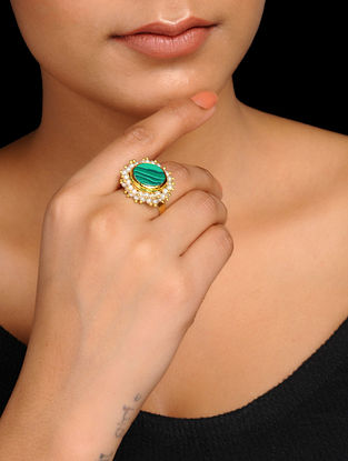 Green Gold Tone Pearl Beaded Adjustable Ring