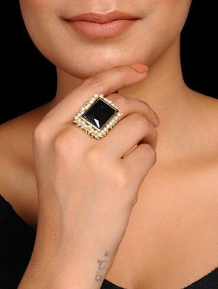 Black Crystal Pearl Beaded Adjustable Ring