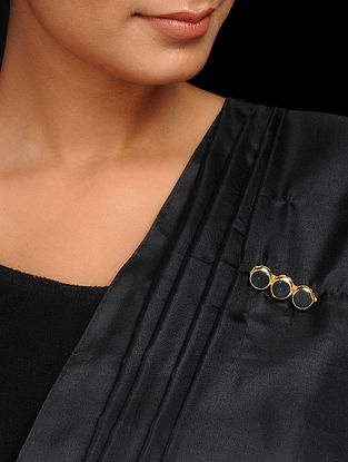 Black Gold Tone Handcrafted Brooch