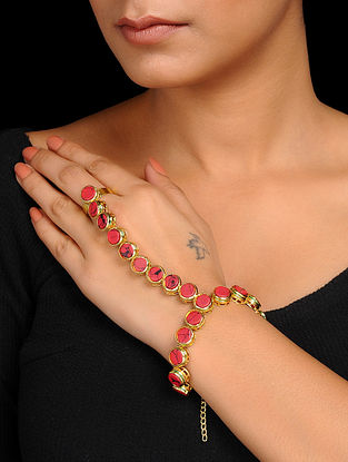 Red Gold Tone Hand Harness