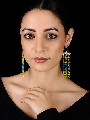 Blue-Green Gold Tone Onyx Earrings