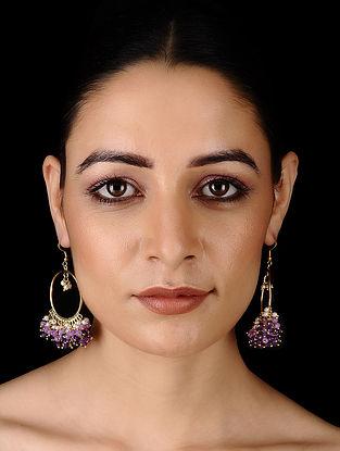 Purple-White Gold Tone Onyx Earrings