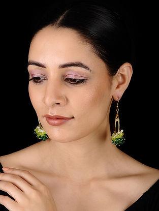 Green-White Gold Tone Onyx Earrings