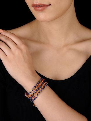 Blue-Orange Gold Tone Onyx Bracelet