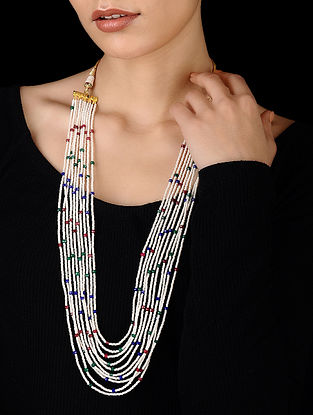 White-Multicolored Gold Tone Onyx Necklace