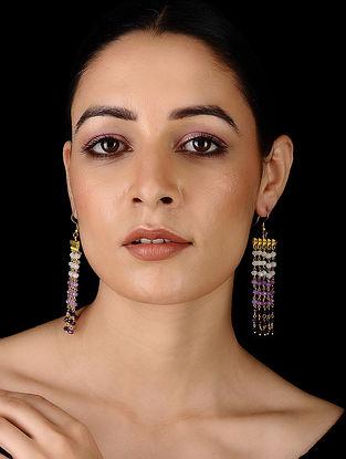 Purple Gold Tone Onyx Earrings