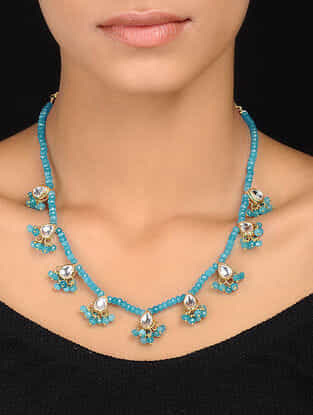 Turquoise Gold Tone Kundan Inspired Necklace