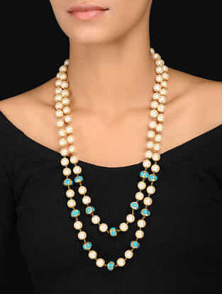 Turquoise-White Gold Tone Pearl Beaded Necklace