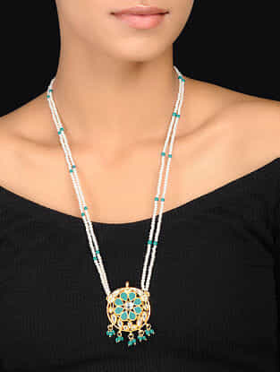 Turquoise-White Gold Tone Kundan Inspired Pendant Necklace