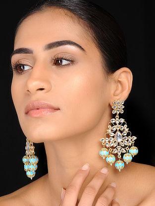 Turquoise Gold Tone Kundan Inspired Meenakari Earrings
