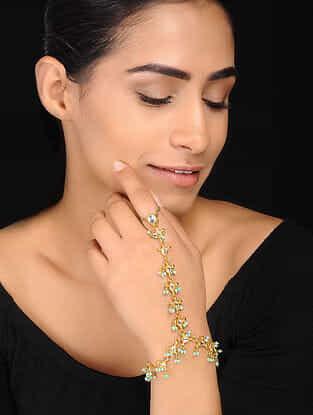 Turquoise Gold Tone Kundan Inspired Hathphool