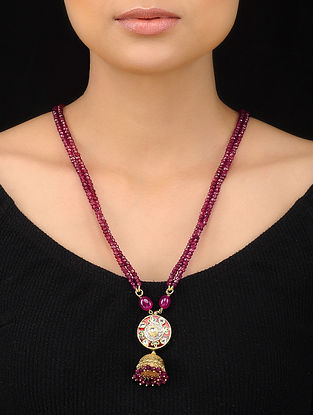 Ruby Red Gold Tone Beaded Pendant Necklace