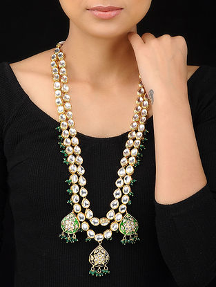 Green Gold Tone Kundan Inspired Meenakari Necklace
