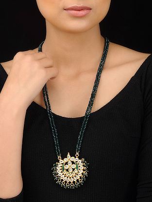 Emerald Green Gold Tone Kundan Inspired Pendant Necklace