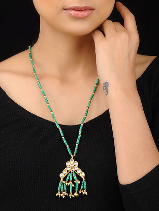 Turquoise Gold Tone Kundan Inspired Pendant Necklace