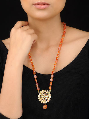 Orange Gold Tone Kundan Inspired Agate Beaded Pendant Necklace