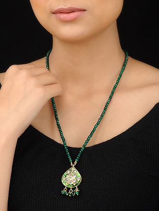 Emerald Green Gold Tone Meenakari Pendant Necklace