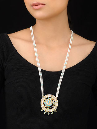 Turquoise-White Gold Tone Polki and Pearl Beaded Pendant Necklace