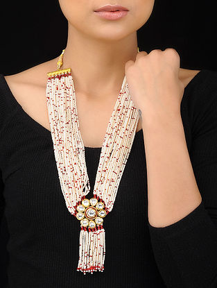 White-Red Gold Tone Kundan Inspired Pearl Beaded Pendant Necklace