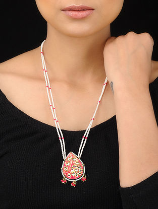 Pink-White Gold Tone Meenakari and Pearl Beaded Pendant Necklace