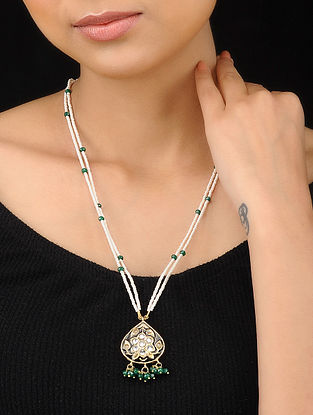 Green-White Gold Tone Meenakari and Pearl Beaded Pendant Necklace