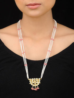 White-Pink Gold Tone Kundan Inspired Pearl Beaded Pendant Necklace