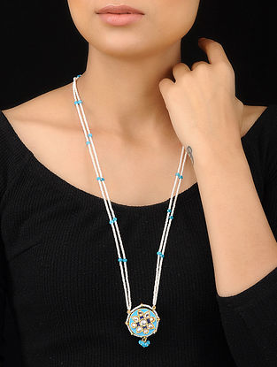 Turquoise-White Gold Tone Meenakari and Pearl Beaded Pendant Necklace