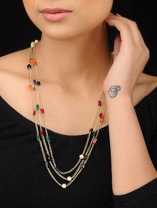Multicolored Gold Tone Multistone Necklace