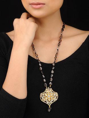 Black Gold Tone Kundan Inspired Agate Beaded Pendant Necklace