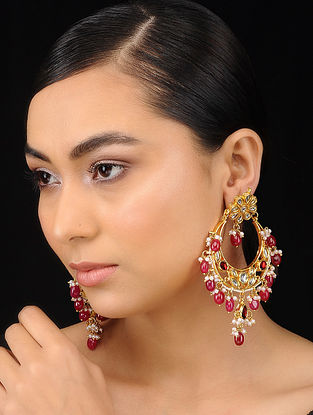 Red Gold Tone Kundan Inspired Quartz Beaded Chandbali Earrings