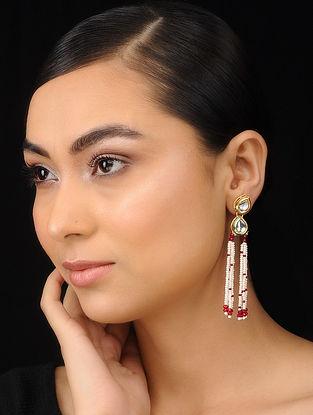 Red-White Gold Tone Kundan Inspired Chandbali Earrings